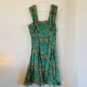 Max Studio abstract summer floral ruched dress M